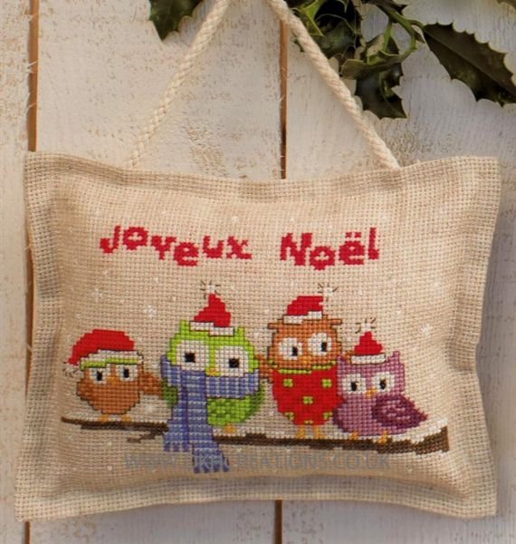 Owlets In Santa Hats Hanger Cross Stitch Kit